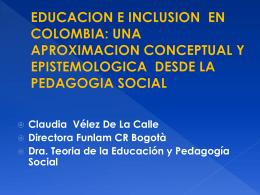 EPISTOMOLOGÍA DE LA PEDAGOGÍA SOCIAL
