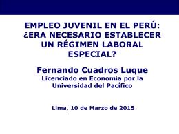Empleo juvenil en el Perú y régimen laboral