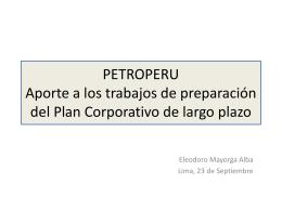Aporte a los trabajos de preparación del Plan Corporativo de largo