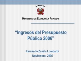 Ingresos del Presupuesto Público 2006