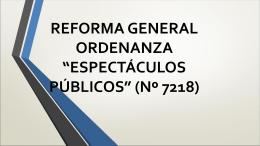 """reforma general ordenanza """"espectáculos"""