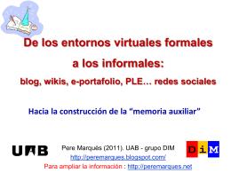 blog, wikis, e.portofolios, PLE... redes sociales. Hacia