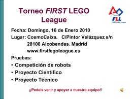 Torneo FIRST LEGO League Fecha: Domingo