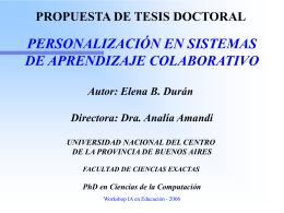 Personalización en Sistemas de Aprendizaje Colaborativo