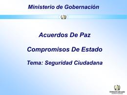Acuerdos de Paz, Compromisos de Estado. Seguridad Ciudadana