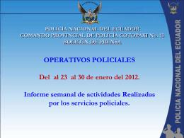 informe semanal de la policía nacional en