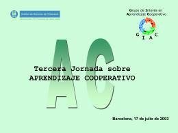 Tercera Jornada sobre Aprendizaje Cooperativo El
