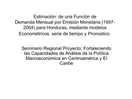 Estimación de una función de demanda mensual por emisión