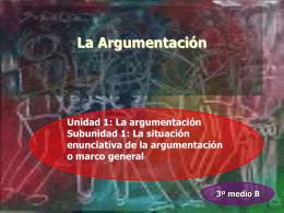 La argumentación Subunidad 1: La situación enunciativa de la