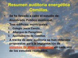 Resumen de la Auditoría energética en Comillas
