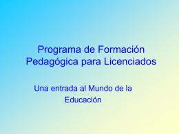 El Programa de Formación Pedagógica para Licenciados