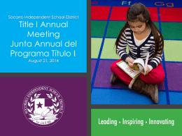 Slide 1 - Socorro Independent School District