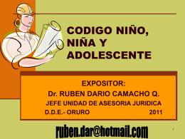 CODIGO NIÑO NIÑA Y ADOLESCENTE