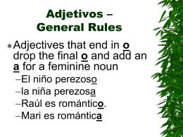 Adjetivos – General Rules