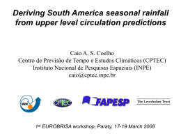 Deriving South America seasonal rainfall from - eurobrisa