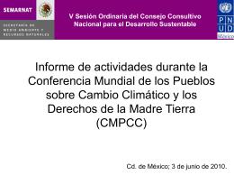 Informe de actividades durante la Conferencia