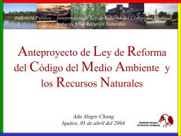 Anteproyecto de Ley de Reforma del Código del Medio Ambiente y