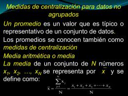 Medidas de dispersión para datos no agrupados Desviación media