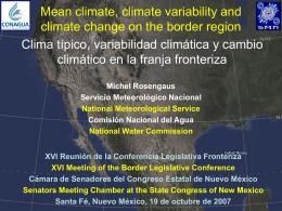 Clima medio, variabilidad climática y cambio climático en la franja