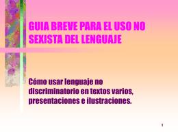 Guía breve para el uso no sexista del lenguaje