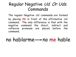 Regular Negative Ud. Commands