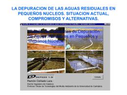 la depuracion de las aguas residuales en pequeños nucleos.