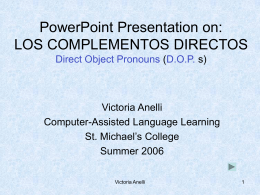 PowerPoint Presentation on: LOS COMPLEMENTOS