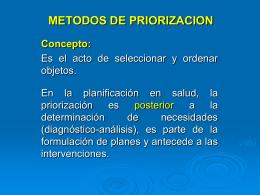 Métodos de Priorización - Programa Promoción de la Salud