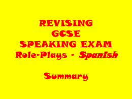 REVISION TIPS - GCSE SPEAKING EXAM