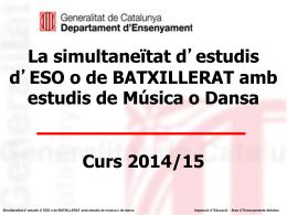 Simultaneïtat d`estudis i Pla Anual per a ESCOLES DE MÚSICA i