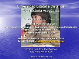 Presentación del proyecto de David Villalobos