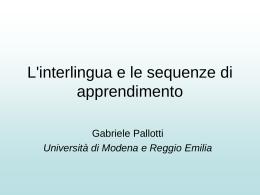 Applicare alla didattica le ricerche sull`interlingua