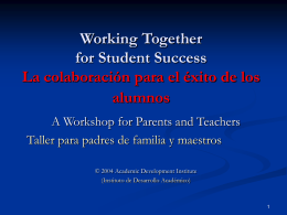 Working Together for Student Success