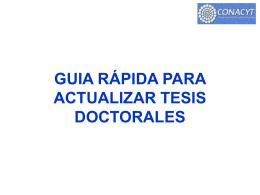 Guía Rápida para actualizar tesis doctorales