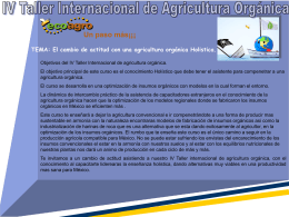 Un paso más¡¡¡ IV Taller Internacional de Agricultura
