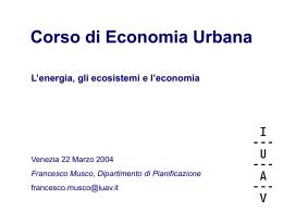 Corso di Economia Urbana - Università Iuav di Venezia