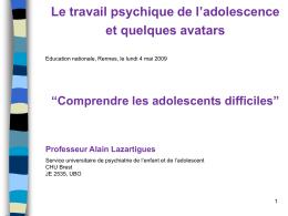 Diaporama de la présentation du Pr Alain Lazartigues