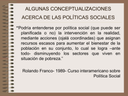 algunas conceptualizaciones acerca de las políticas sociales