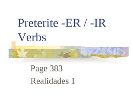 ER / -IR Endings