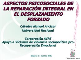 Oscar Gómez – Corporación AVRE (Apoyo a Víctimas Pro