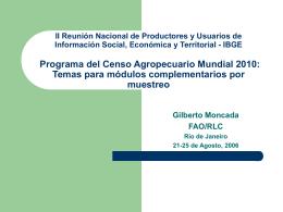 FAO: SISTEMAS DE INFORMACION ESTADISTICA AGRICOLA