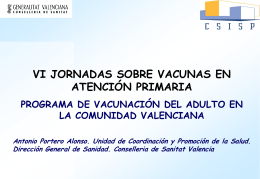 Programa de vacunación de Adultos en la Comunidad Valenciana