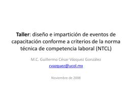 Taller: diseño e impartición de eventos de capacitación conforme a