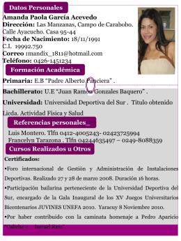 Amanda Paola García Acevedo Licda. Actividad Física y Salud