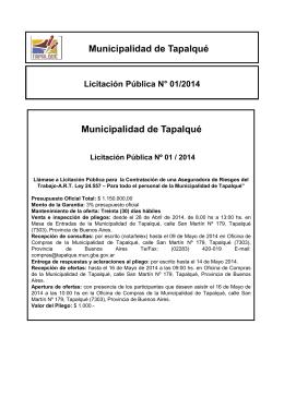 Aviso Público A.R.T - Municipio de Tapalqué