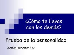 ¿Cómo te llevas con los demás? - Spanish Class Info-