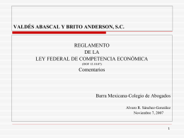REGLAMENTO DE LA LEY FEDERAL DE COMPETENCIA