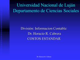 Costos Aspirante: Dr. Horacio R. Cabrera