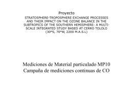 Mediciones de Material particulado MP10 Campaña de mediciones