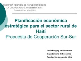 Planificación estratégica económica para el sector rural (pobre) de